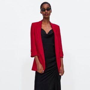 Zara red blazer with buttoned sleeve